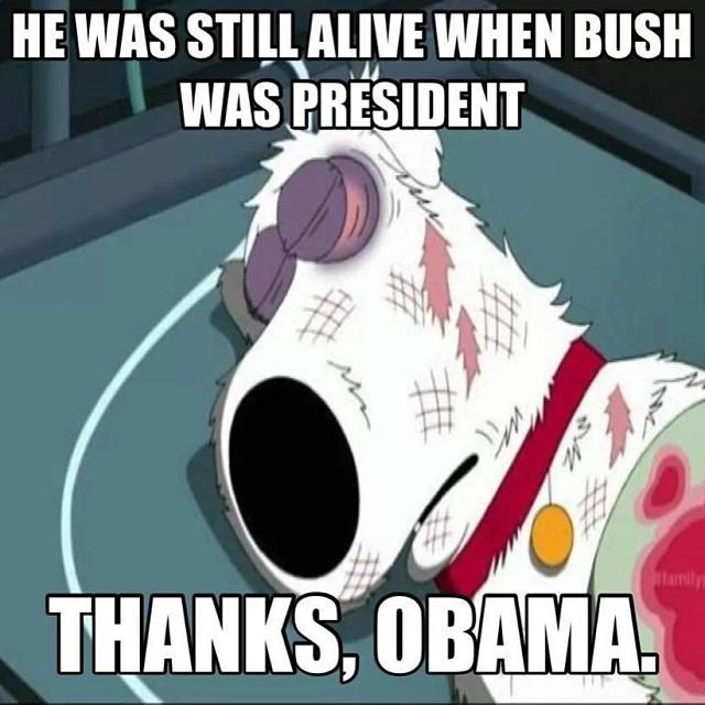 Когда президентом был Буш, Брайн был жив. Ну спасибо, Обама.