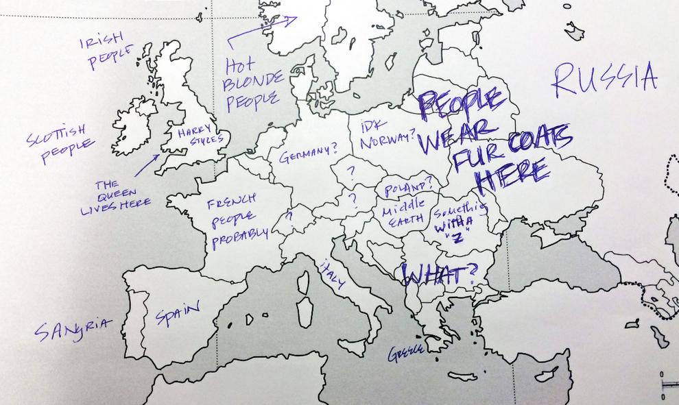 Европа, контурные карты