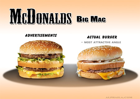 Бургеры в рекламе и реальности