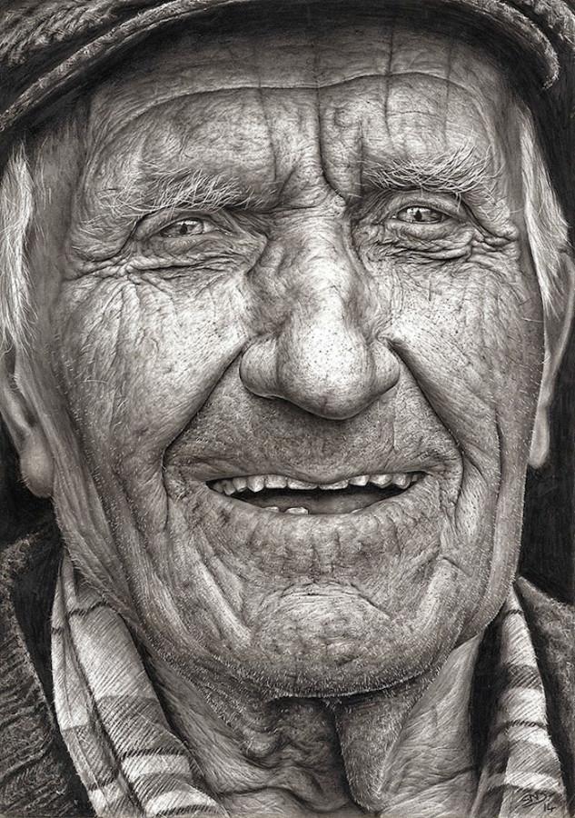 16-летняя девочка нарисовала дедушку во всех деталях