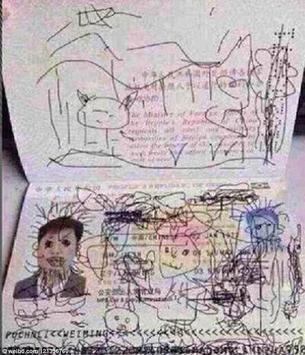 Китайца не выпускают из Южной Кореи, так как его 4-летний сын разукрасил папин паспорт