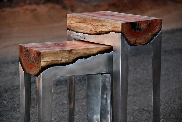 Стильная мебель из алюминия и дерева