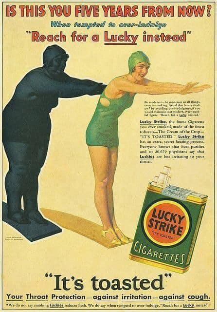 Реклама сигарет Lucky strike, как средства для похудания. CША. 1927 год.