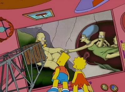 Микеланджело, Сотворение Адама, фреска, Сикстинская капелла, заимствование, цитирование, Симпсоны, сериал