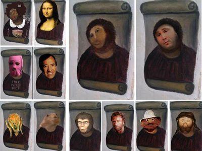 Иисус, фреска, фотожаба