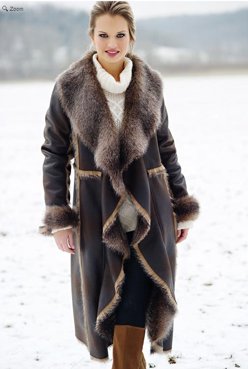 Brown Faux Fur-Trimmed Cascade Full-Length Coat 349 USD