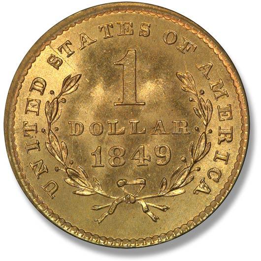 Калифорнийский золотой доллар 1849 года