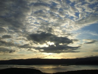 clouds lit by sunset, arnside knot 17/7/07