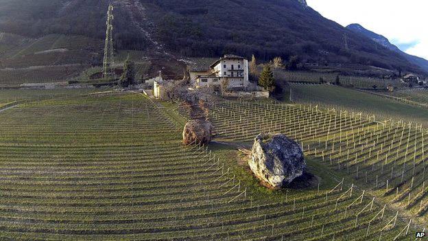 Boulder-smashes-through-Italian-farm-1
