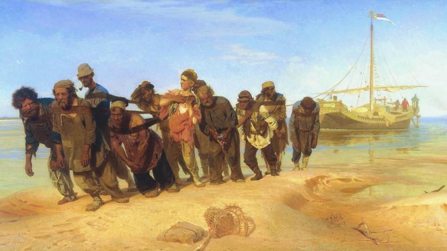 Рабская сущность русского народа Trackers-on-the-Volga-River-wallpaper-image-1280x720