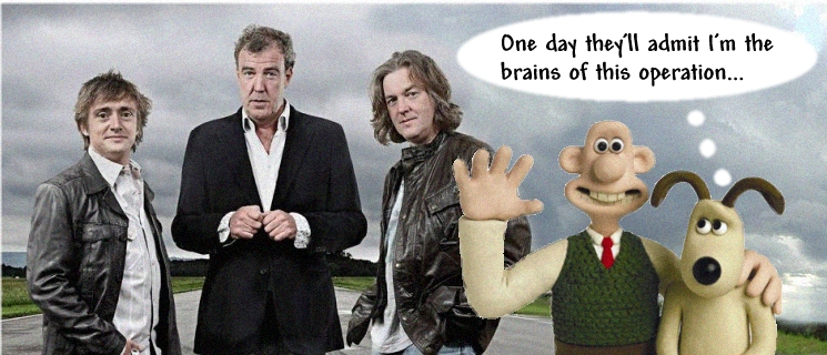 Top Gear team and Wallace and Gromit