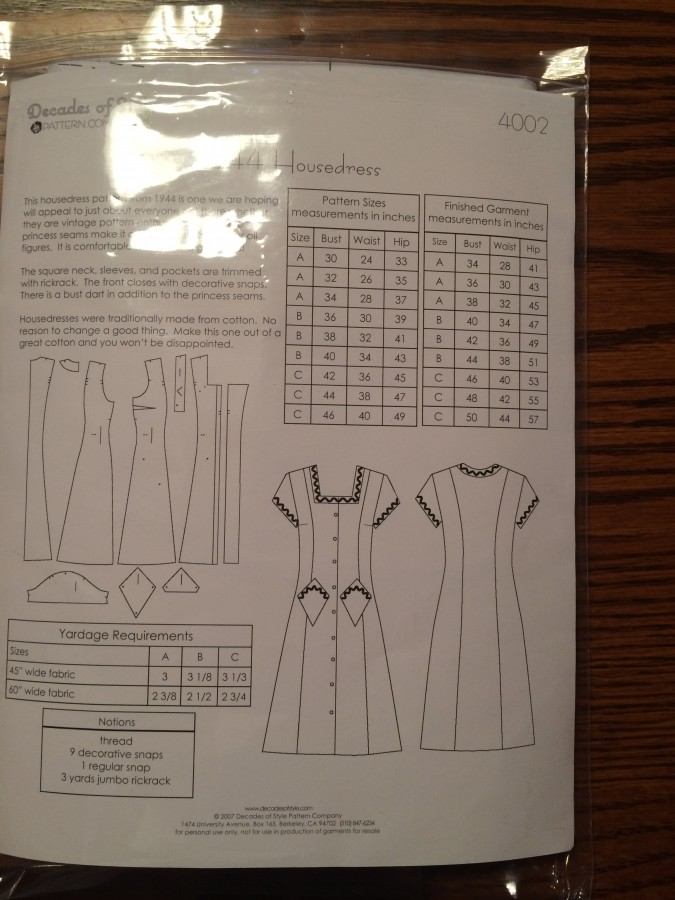housedress pattern back