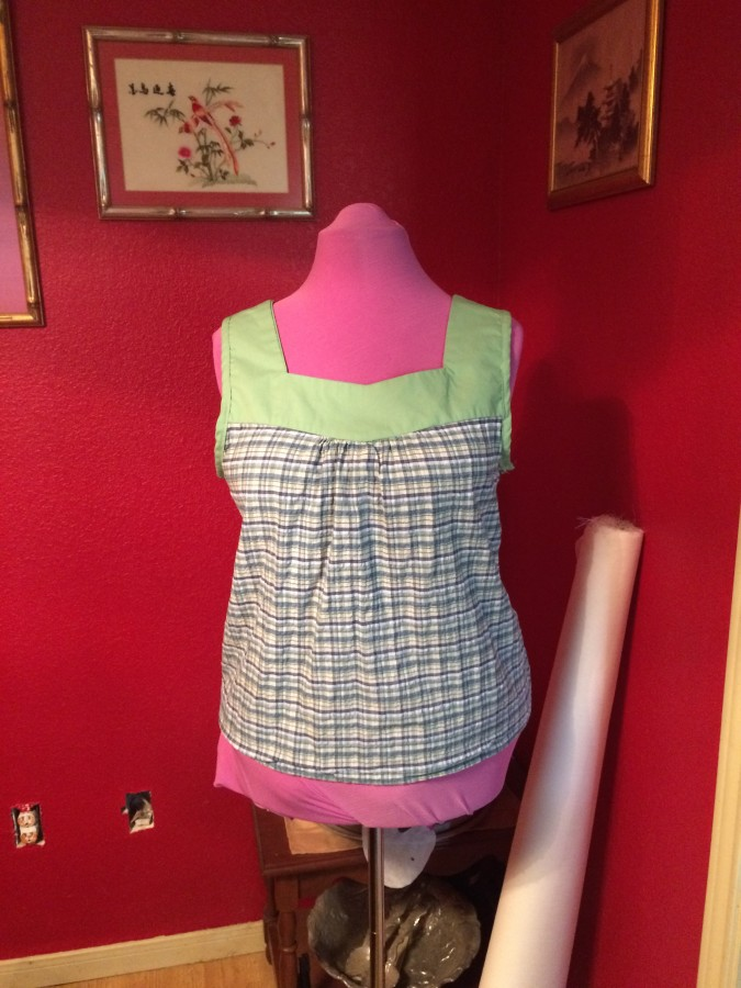 Sewing - blue plaid top