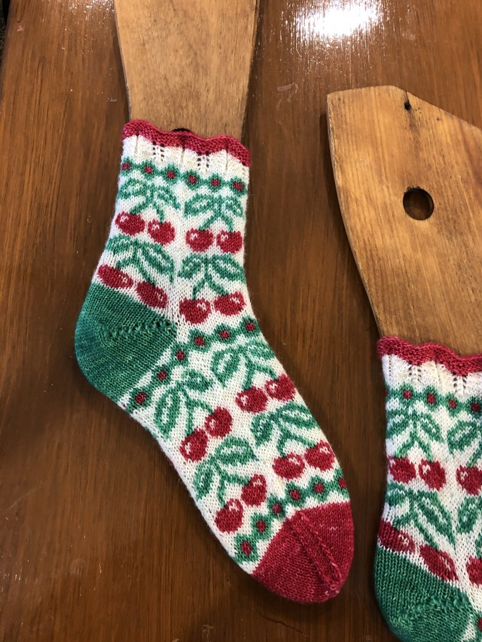 cherry socks close up