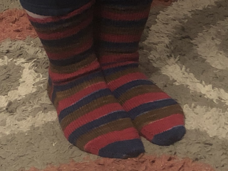 Striped socks closeup