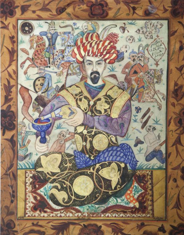 25-Щекатихина-Потоцкая - Портрет-шарж И Билибина - 1924 - Каир - Ивангородский художественный музей.jpg