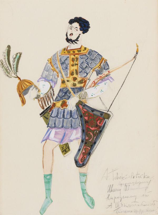42-Щекатихина-Потоцкая - Эскиз костюма древнерусского воина - 1930.jpg