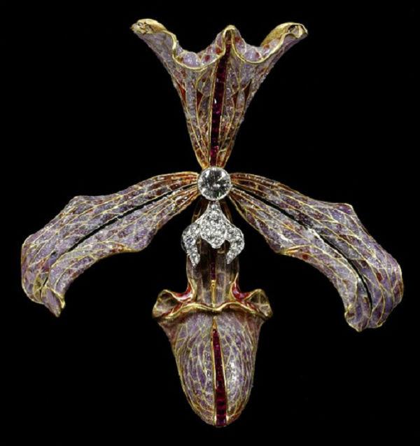 9-Заколка для волос - Орхидея - Золото бриллианты эмаль.jpg
