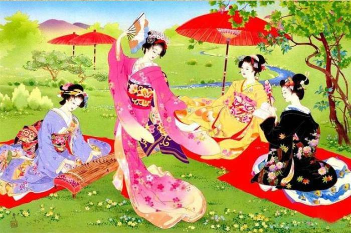 Традиционный японский танец в саду.jpg