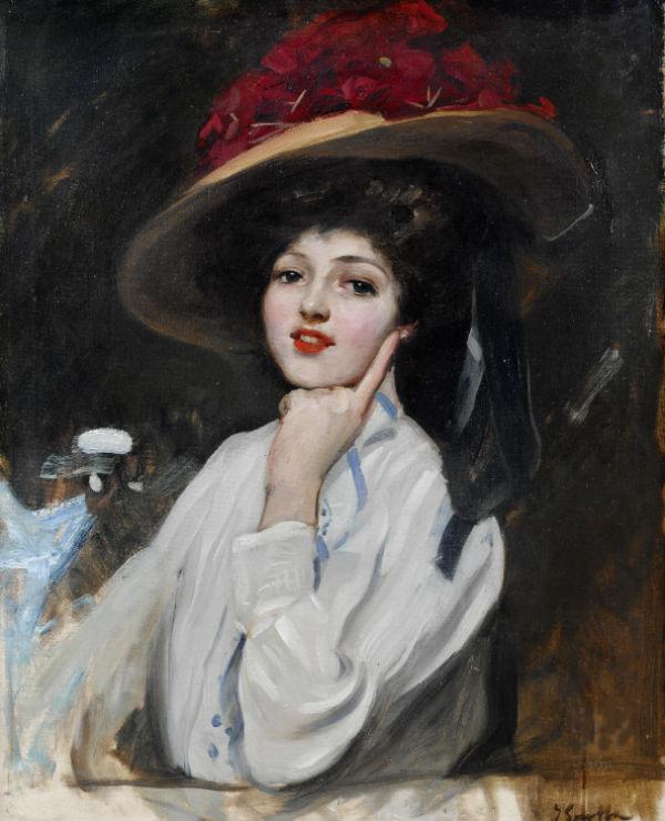 Хоакин Соролья - Портрет молодой женщины в шляпе.jpg