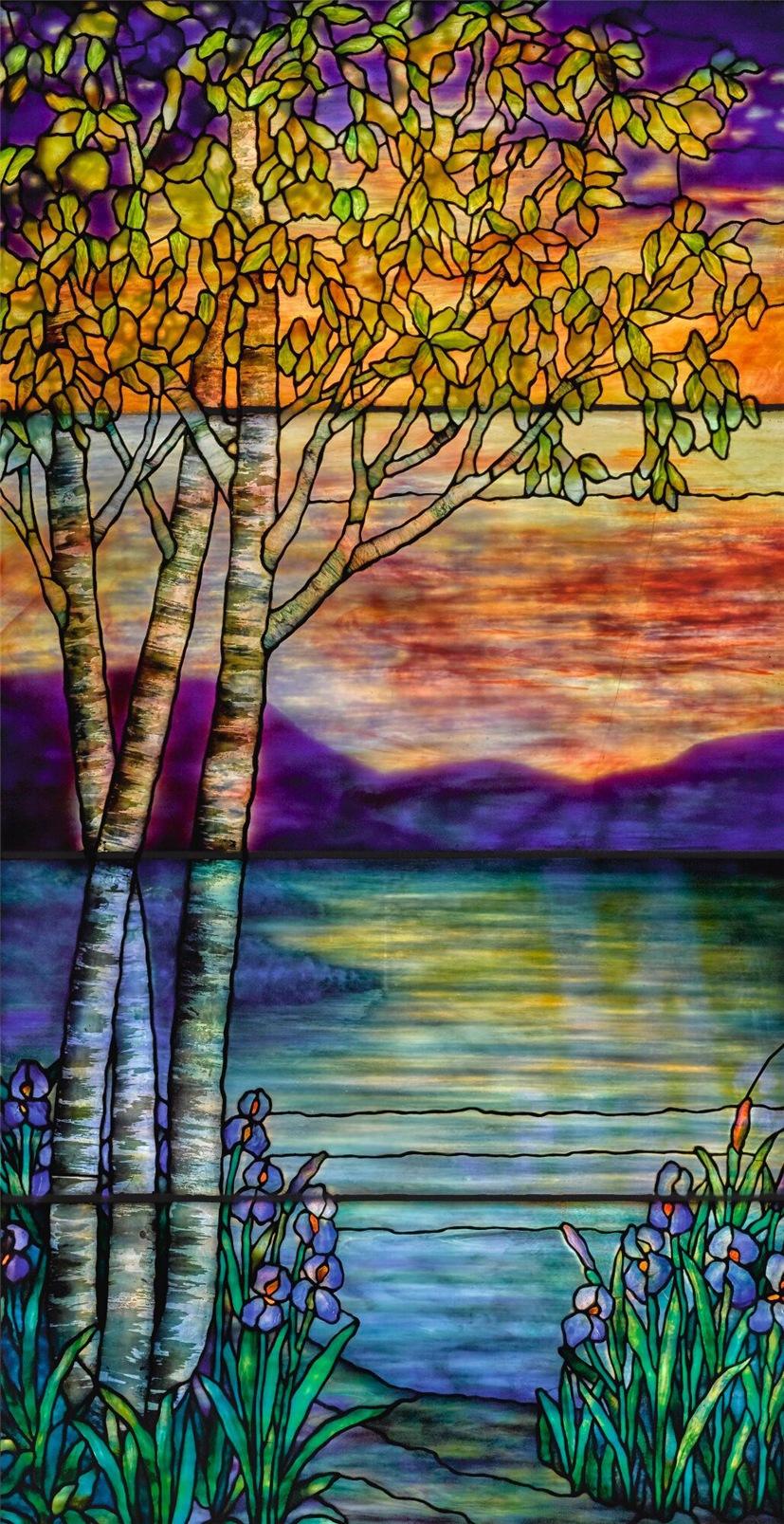 43-Ландшафтное окно Берёзы и ирисы - 1910-1915.jpg