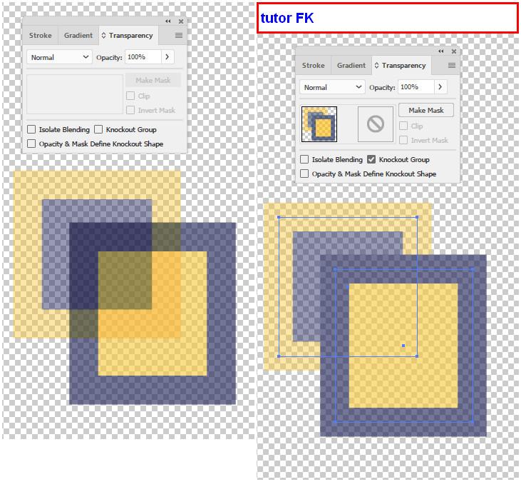 """Прозрачные квадраты слева дают такую прозрачность и в области пересечения. Однако группу можно """"отсечь"""" и места пересечений, сохраняя общую прозрачность, покажут имитацию выреза. На самом деле ничего не отрезается и графика не страдает: это видно по выделенному справа пути: это всё те же два квадрата."""