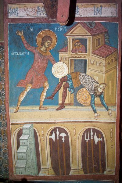 Мученик Нестор Солунский (Фессалоникийский) побеждает нечестивого Лия