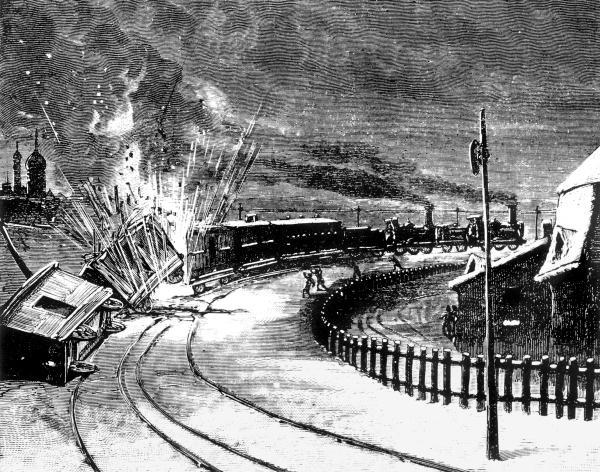 Декабрь 1879 года, взрыв поезда, везущего багаж императорской свиты, рисунок Г. Мейера