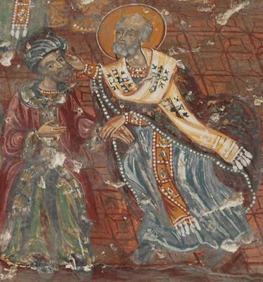 Святитель Николай наставляет злоречивого Ария на путь истинный на Вселенском соборе