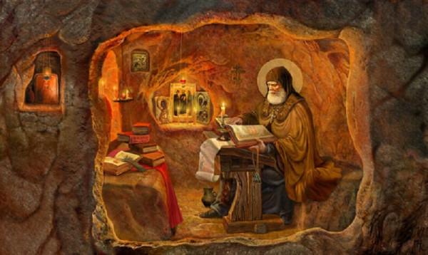 Прп. Илья Муромец в пещерной келье в Киеве