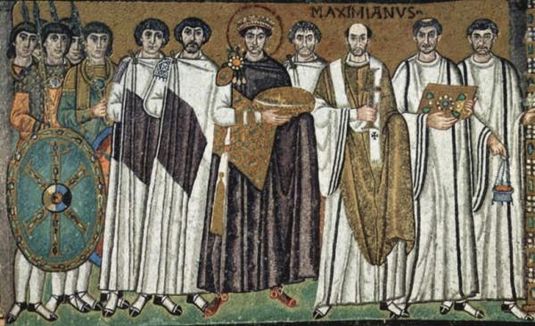 св. Юстиниан (Иустиниан) Великий со свитой, полное имя - Флавий Петр Савватий Иустиниан