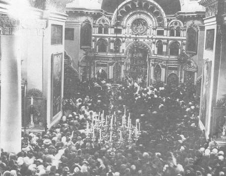 За Божественной литургией, совершаемой в Кронштадтском Андреевском соборе прав. Иоанном Кронштадтским