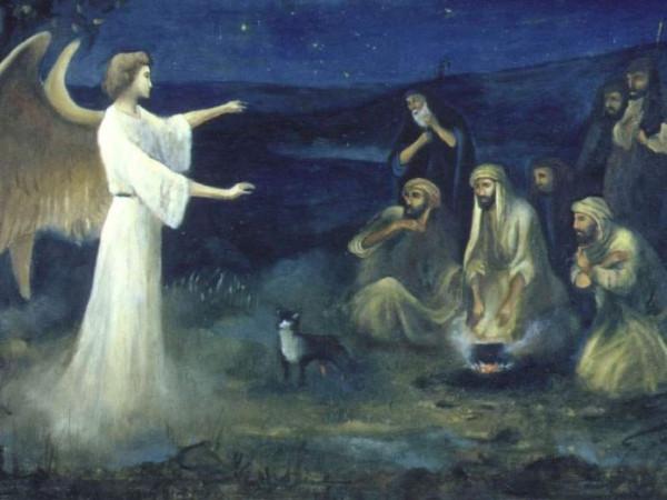 Архангел Гавриил явился пастухам и возвестил им о рождении Спасителя