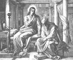Беседа Господа Иисуса Христа с фарисеем Никодимом, Библия в гравюрах Ю. Карольсфельда