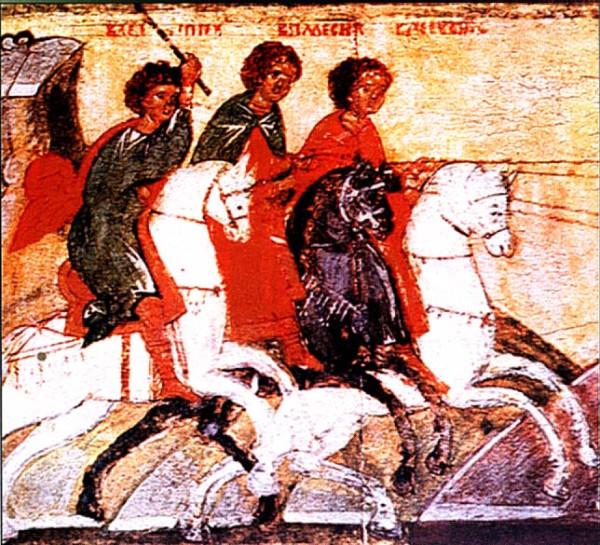 Мученики Спевсипп, Елевсипп, Мелевсипп, мученица Леонилла (Неонилла), мученики Неон, Турвон, мученица Иовилла
