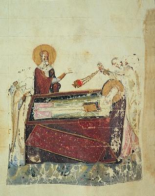 Успение Афанасия Великого. Миниатюра из Григория Богослова 16 слов. 3-я четв. XI в.