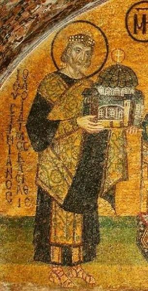 Император Юстиниан Великий - ктитор Софийского собора. Фрагмент. Мозаика, Константинопольский Софийский собор, 944 г.