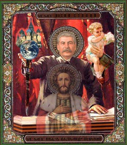 псевдоправославные иконы -  св. Алескандр Невский,  и Сталин