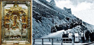 справа- Крестный ход в дореволюционном Успенском Дивногорском монастыре