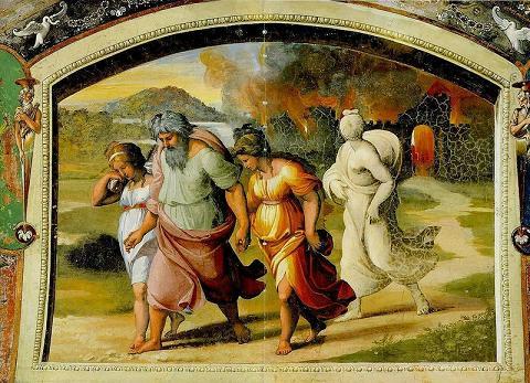 Лот с семьей бежит из Содома