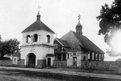 Церковь Николая Чудотворца в поселке Тимковичи, Белорусь, фото 1917 года. В годы лихолетия храм был полностью разрушен