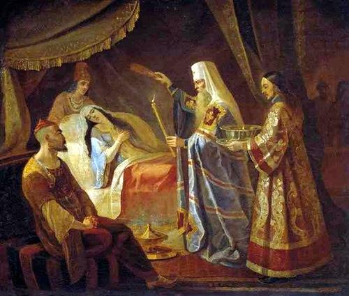 Святитель Алексий исцеляет ханшу Тайдулу. Капков Я. (1816)
