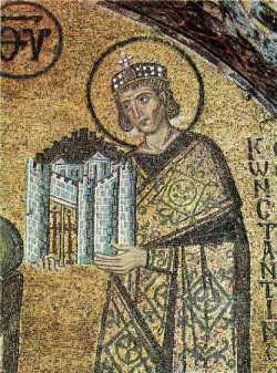 Равноап. царь Константин. Фрагмент мозаики. Собор Святой Софии в Константинополе, конец X века.