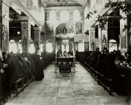 трапезная Русского на Афоне монастыря. Фото середины прошлого века 1