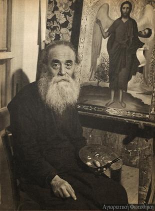 Иером. Серафим Кареотис, келья св. Иаонна Боголслова, Карея, фото  Chrysostomus Dahm, 1957