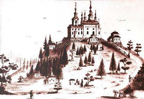 Голгофо-распятский скит на о.Анзер (Соловки), литограция XIX век