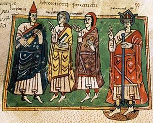 Король Ариамир с епископами Лукрецием, Андреем и Мартином Брагским. Миниатюра из Вигиланского кодекса, 976 год