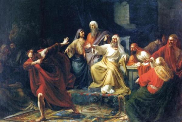 Иуда Искариот, бросающий серебреник. Платон Васильев, 1858 год