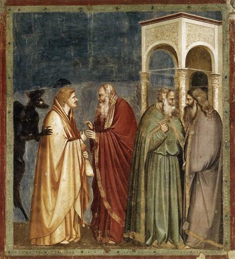 Иуда Искариотский получает сребренники. Giotto di Bondone, 1304-06