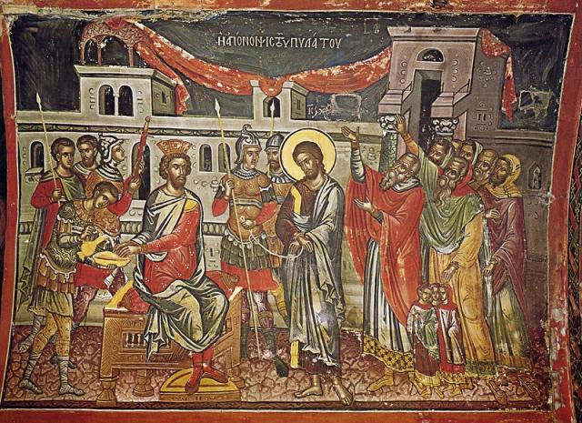 Великая Пятница. Христос перед Пилатом. Фреска работы Феофана Критского, монастырь Ставроникита, Афон